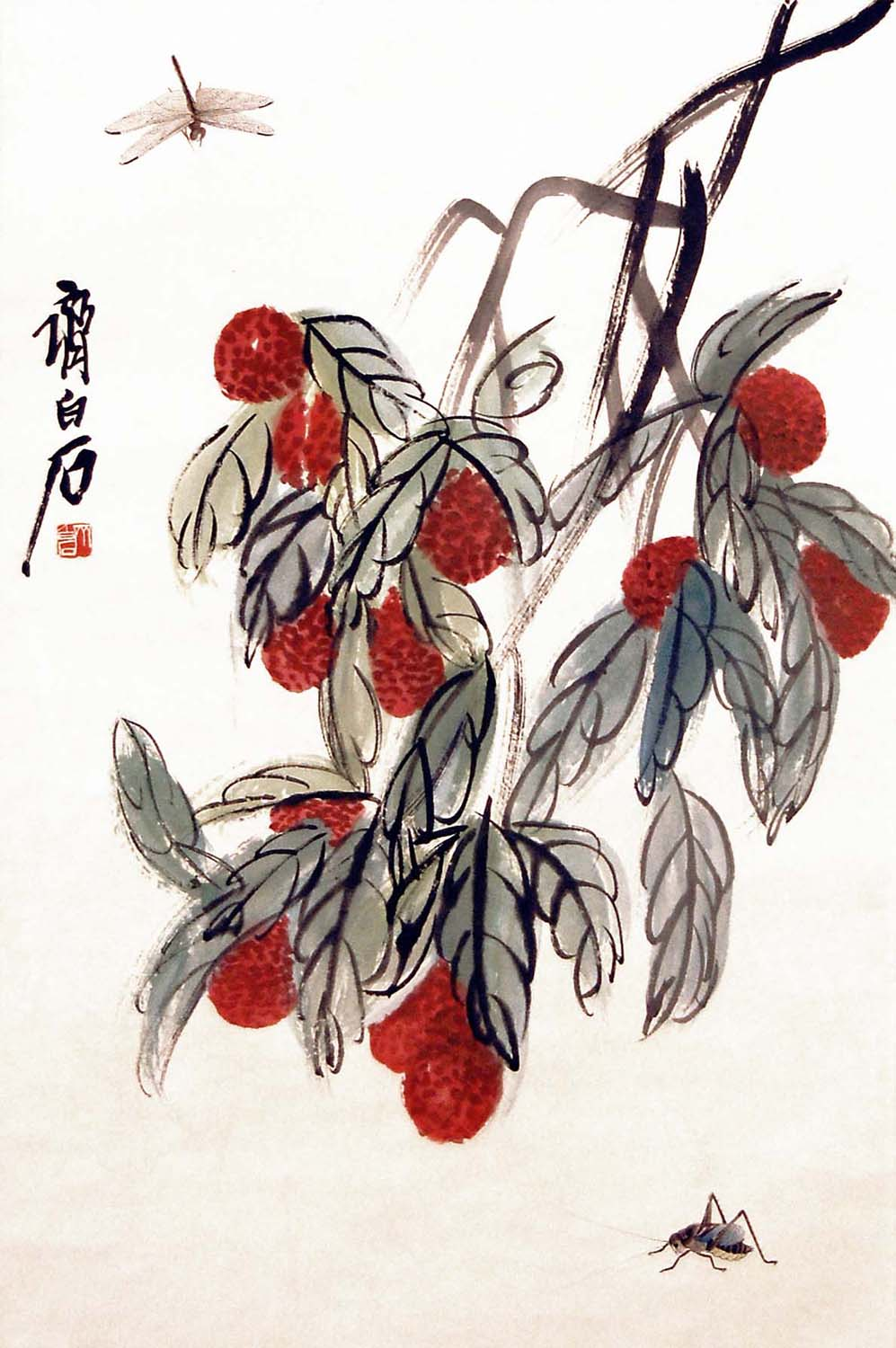 """Lot 6 - """"???(1864 - 1957)???????????????:?????:(???)Qi BaishiLychee and InsectsHanging Scroll,Ink & Color on"""