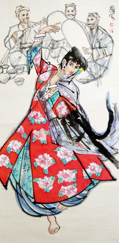 """Lot 8 - """"???(b. 1956)????????????????:????:(??)(???)Shi GuoliangUighur DancerHanging Scroll,Ink & Color on"""