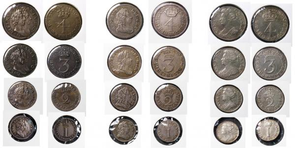 Lot 2629 - Maundy Sets a complete collection of all 4 coin Maundy sets minted from Charles II undated issue to