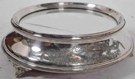 A late Victorian silver plate and mirror topped boxed wedding / cake stand. The large cake stand & A late Victorian silver plate and mirror topped boxed wedding / cake ...