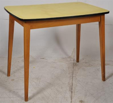 A 1950 S Retro Yellow And Beech Wood Formica Kitchen Table Tapered Angular Legs With Yellow Form