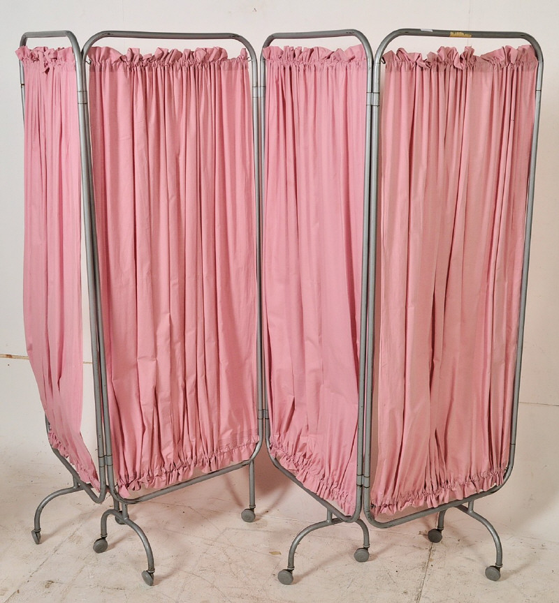 Lot 303 - A 1960's retro NHS folding hospital screen. The grey tubular frame on castors complete with the