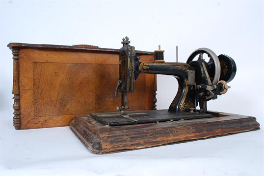 A vintage Singer sewing machine dating to the 19th century