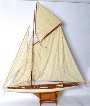 A good quality large pond yacht model of wooden construction