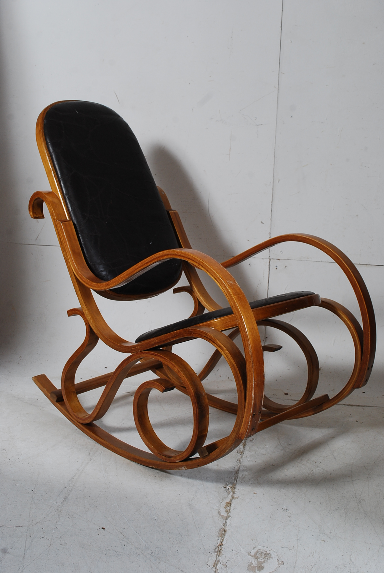A Thonet Style Bentwood And Leather Rocking Chair The Patchwork
