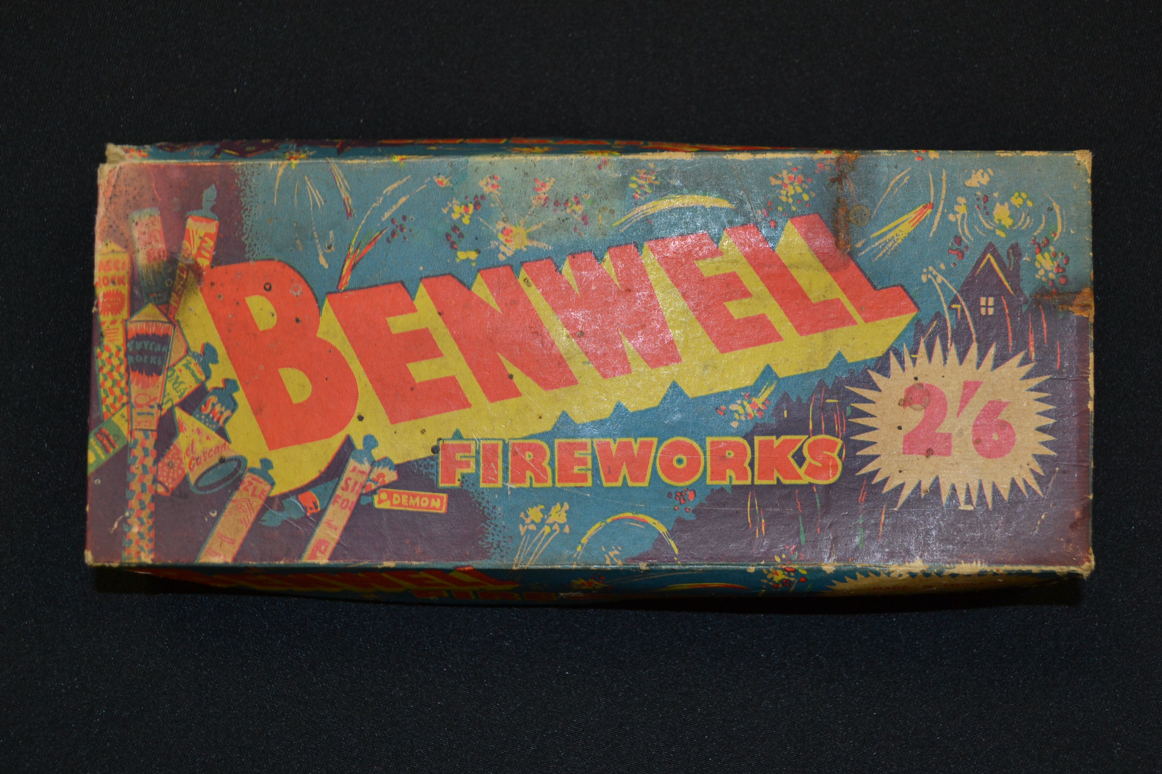 A box of vintage unused  1950's fireworks by Benwell. Made in England by Haley & Weller Ltd,