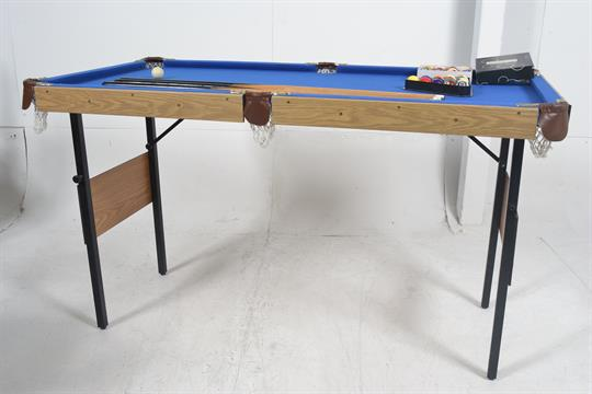 A Good Folding Pool Table, Complete With Balls, Triangle And Three Cues. By  Chicago, Debut.