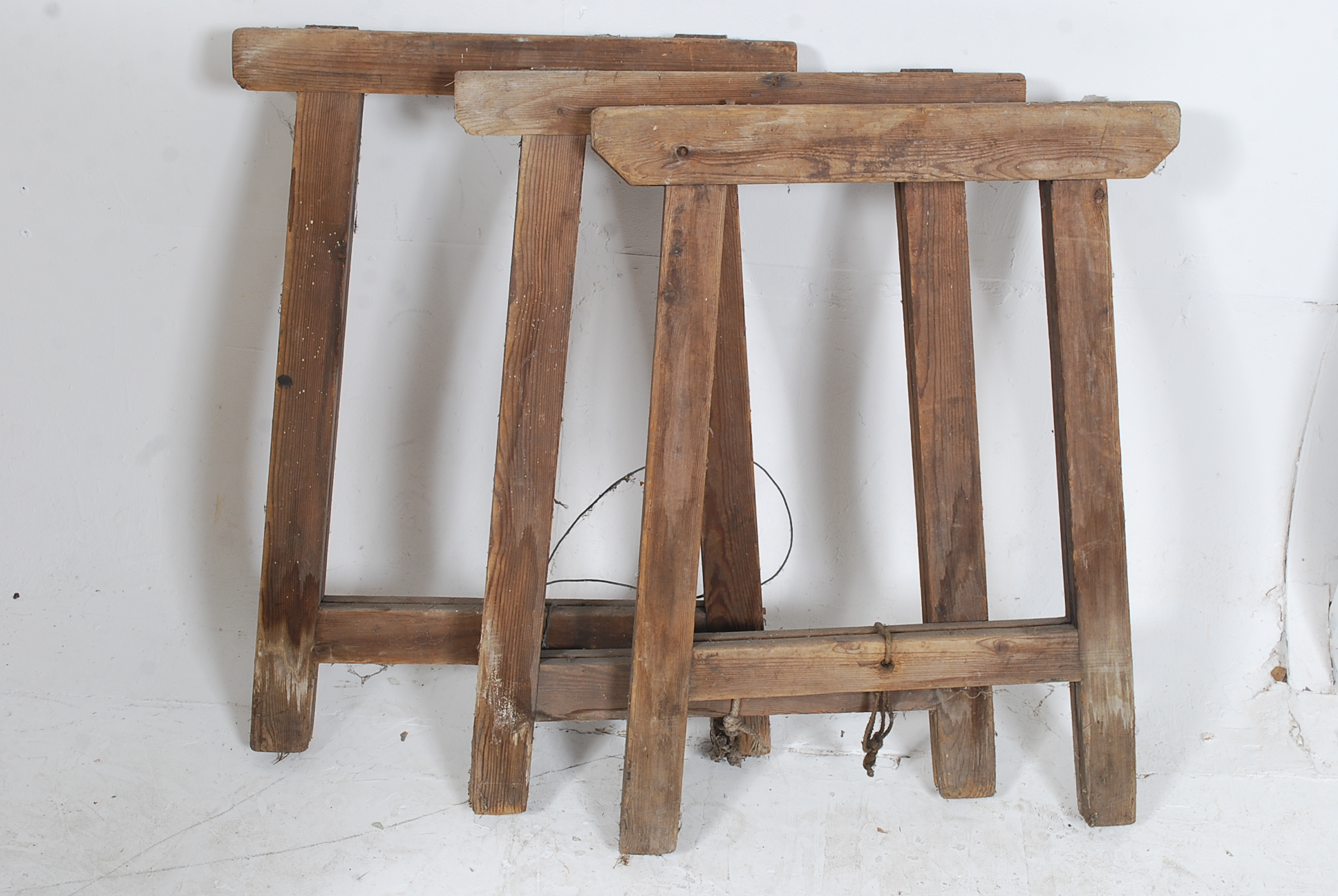 Lot 207   A Set Of 3 Vintage Mid 20th Century Wooden Trestle Table Ends  Complete Part 85