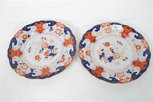 A pair of 19th century Imari pattern cabinet plates by Masons