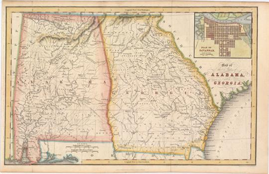 Hinton, Simpkin & Marshall, 1831 Map of the States of Alabama ...