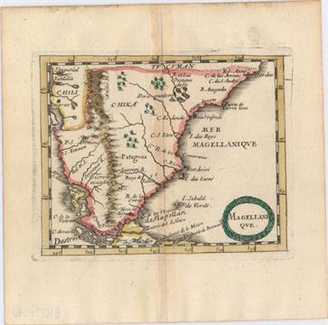 Tip Of South America Map.Magellanique This Miniature Map Of The Southern Tip Of South America