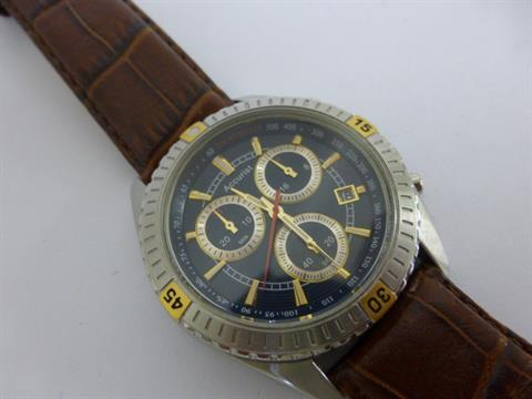 mens accurist ms797 u brown leather strap watch featuring mens accurist ms797 u brown leather strap watch featuring chronograph timing on a dark blue dial
