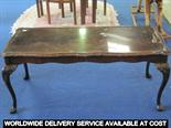 Lot 31 - Modern rectangular coffee table with inset glass top on cabriole supports - 100cms wide