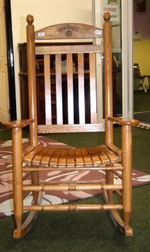 Light Oak Rocking Chair Made From A Barrel From The Jack Daniels Distillery