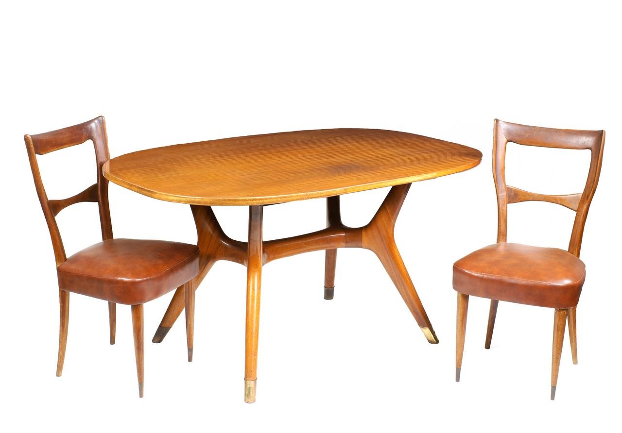 ICO PARISI, STILE anni `40/50 tavolo e otto sedie in mogano, piano ...
