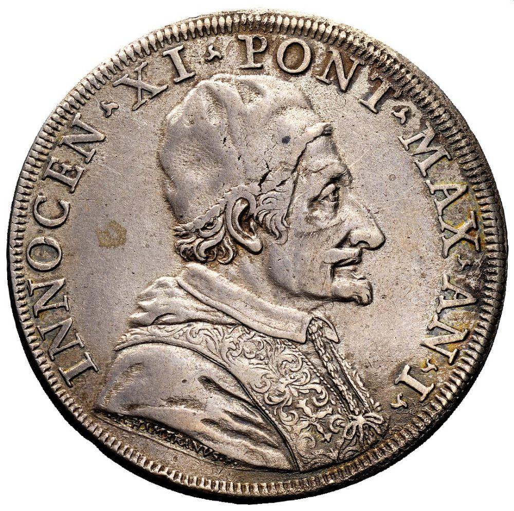 Lotto 537 - Innocenzo XI (1676-1689) - Piastra Anno I Zecca: Roma Fronte: effigie del Papa a destra - Retro: San