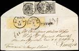 Lombardo Veneto I emissione - Carta a mano 1850 5 c. giallo ocra striscia verticale di tre al