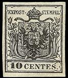 Lombardo Veneto I emissione - Carta a mano 1850 10 c. nero carbone - Certificati Colla