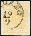 Lombardo Veneto I emissione - Stampa recto - verso 1850 5 c. giallo ocra stampa recto-verso,