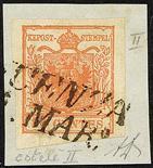 Lombardo Veneto I emissione - Carta a coste verticali 1851 I quattro valori conosciuti