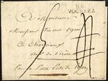 Prefilatelia 1804 106/Voghera - Stampatello su due righe al recto di lettera tassata per la Francia