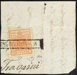 Lombardo Veneto I emissione - Carta a coste verticali 1851 15 c. rosso vermiglio chiaro I tipo su