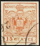 Lombardo Veneto I emissione - Falsi dell`epoca 1850 Imitazione di Milano 15 c. rosa vermiglio II