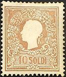 Lombardo Veneto II emissione - I tipo 1858 10 s. bruno - Da esaminare