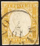 Lombardo Veneto - Governo Provvisorio 1859 Milano - Cerchio annullatore di Sardegna IV emissione