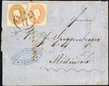 Lombardo Veneto III emissione 1861/62 5 s. rosso + 10 s. bruno mattone su lettera del 30 novembre