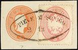 Lombardo Veneto IV emissione 1863 Quarta emissione 5 s. rosa su piccolo frammento di intero