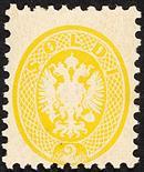 Lombardo Veneto V emissione 1865 2 s. giallo