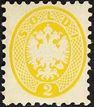 Lombardo Veneto V emissione 1865 2 s. giallo  quattro esemplari