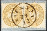 Lombardo Veneto V emissione 1864 15 s. bruno cinque esemplari sciolti + due coppie orizzontali