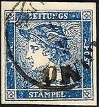 Lombardo Veneto Francobolli per giornali 1851 Mercurio (3 c.) azzurro III tipo cinque esemplari