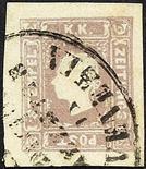 Lombardo Veneto Francobolli per giornali 1858/59 Effigie a sinistra (1,05 s.) azzurro e lilla