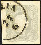 Lombardo Veneto Francobolli per giornali 1861 Effigie a destra (1,05 s.) grigio chiaro due esemplari