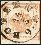 Lombardo Veneto Marche per giornali 1859 2 kr. vermiglio con annullo a cerchio di Bolzano - Uso in