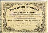 Prefilatelia  1853/1967 Ferrovie - Tre titoli azionari fra cui Strada Ferrata di Pinerolo del 1853