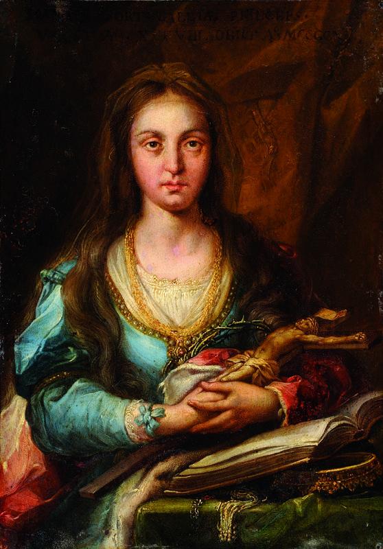 Lotto 1159 - Scuola portoghese del XVII secolo Beata Giovanna d'Aviz Sul fronte la scritta: Joanna Portogalia