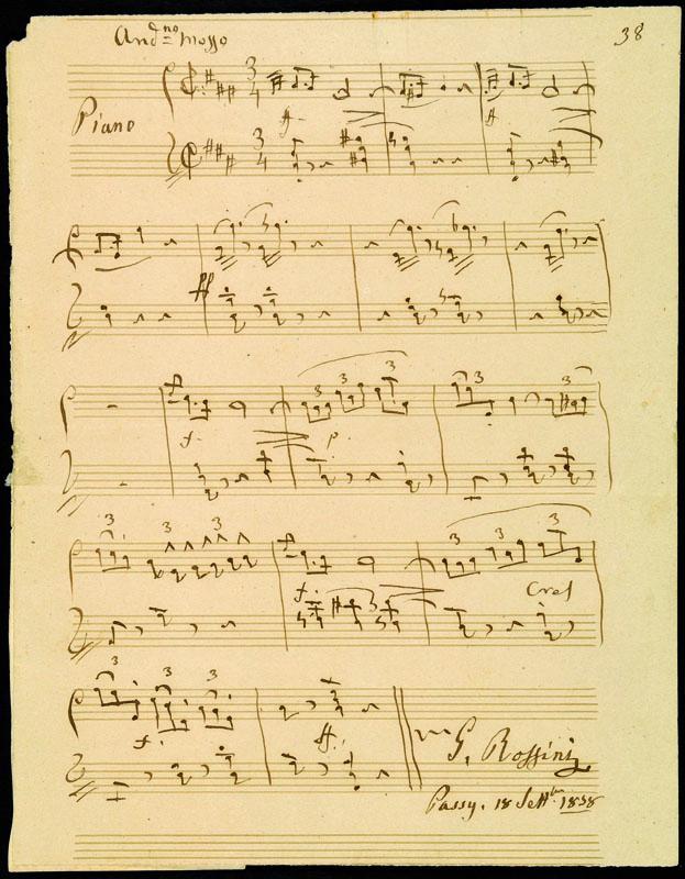Lotto 111 - Autografi Rossini, Gioacchino (1792-1868). Splendido manoscritto autografo con data 'Passy. 18 sett.