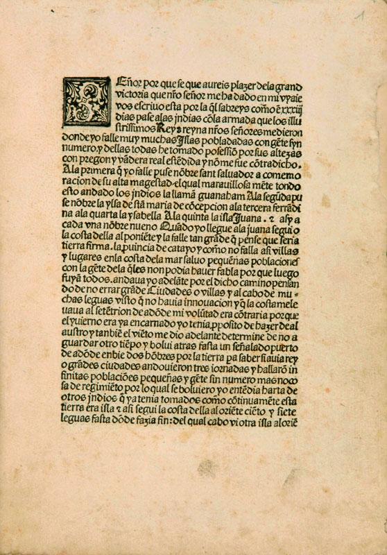 Lotto 482 - Viaggi Colombo, Cristoforo Lettera in lingua spagnola diretta a Luis de Santangel, 15 febbraio –