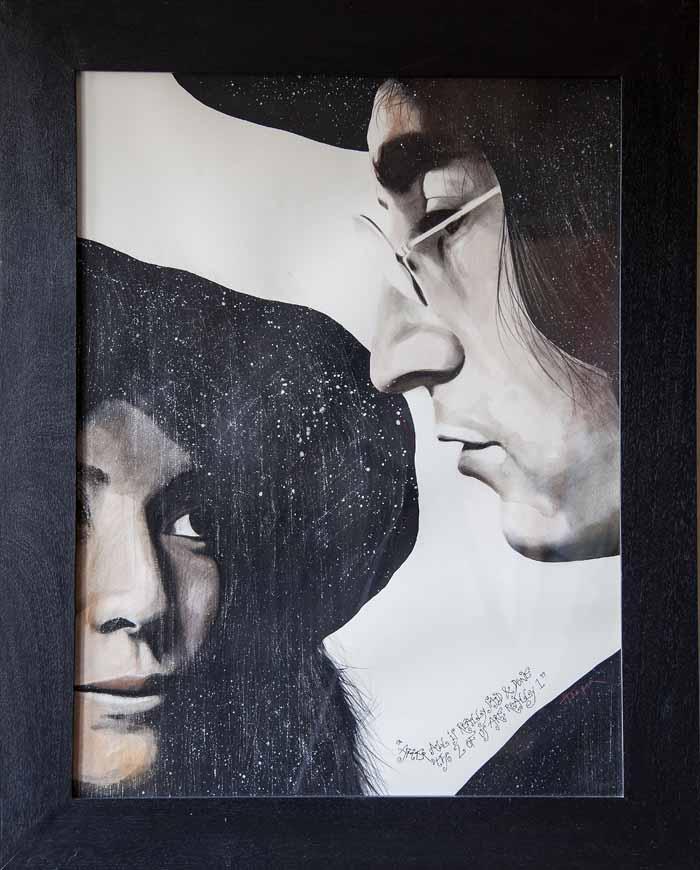 Bob Harper `John & Yoko` Watercolour 56cm x 75cm signed & framed under glass.