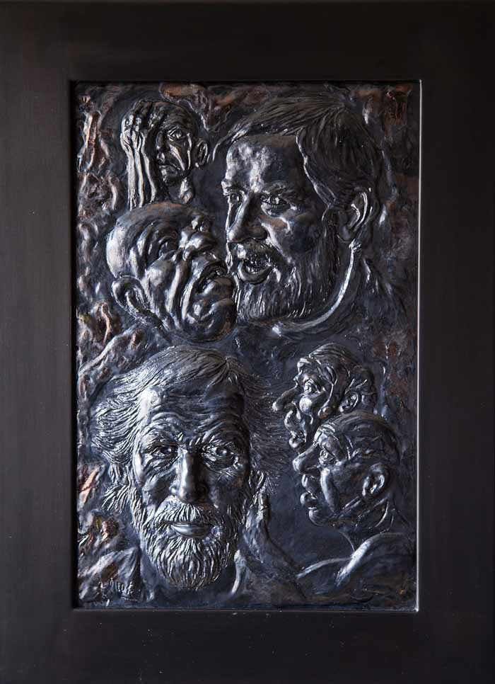 George Mark `Tribute to Howson` Bas Relief Sculpture 32cm x 48cm signed & framed