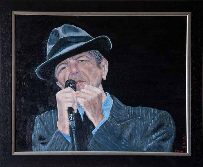 Helen Dougall `Leonard Cohen` Acrylic on canvas 50cm x 40cm signed & framed
