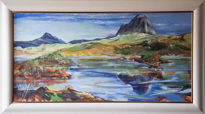 Helen McDonald Mathie `Suilven across Loch Druin` Acrylic on linen 100cm x 50cm signed & framed