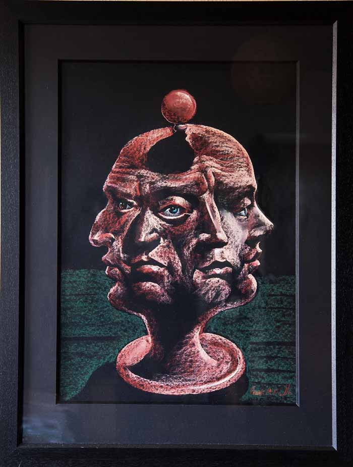 Frank McFadden `Heads you win` Pastel on board 47cm x 67cm signed & framed