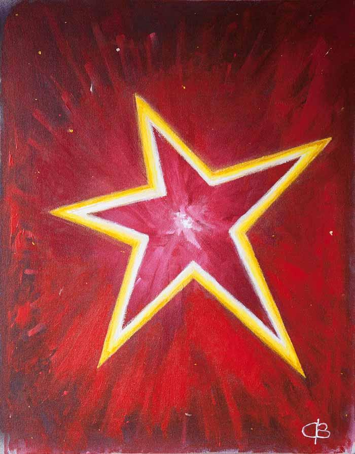 Chris Billington `Beyond the stars` Oil on canvas 60cm x 76cm signed & unframed as intended.