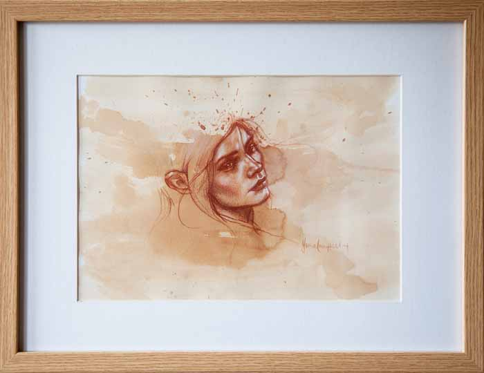 Fiona Campbell `Untitled` Watercolour 28cm x 20cm signed & framed