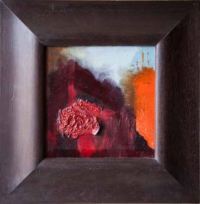Pearl Kinnear `Falling down` Acrylic & oil on board 25cm x 25cm framed